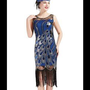 1920's Vintage Peacock Sequin Flapper Dress